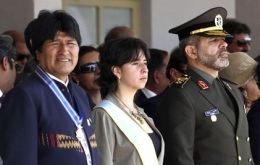 Evo Morales and Iran's Defence minister during the May parade
