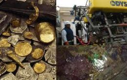 "The treasure recovered by Odyssey is allegedly from the wreck ""Nuestra Señora de las Mercedes"" found off the coast of Portugal in 2007"