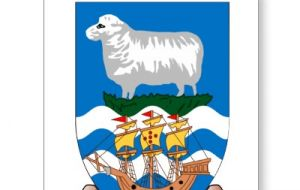 The Falklands' flag and coat of arms