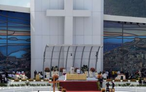 The elaborate stage at Copacabana that drew millions during Francis week-long pilgrimage to Brazil