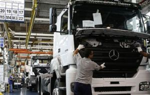 Industrial output was up propped by truck production