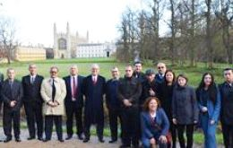 The officers with the background of Cambridge