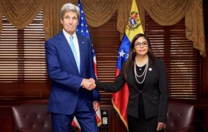 """I've committed to see if this can work so let's see if we can improve the relationship,"" Kerry told reporters after meeting with counterpart Delcy Rodriguez"
