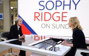 "Journalist Sophy Ridge told May: ""Everything you are saying seems to suggest we are leaving the single market. Why don't you just admit it?"""