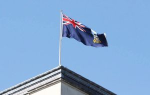 FI Flag flying over the FCO marking 35 years since the end of the conflict