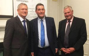 Andrew Rosindell, Anthony Webber MP, and Albert Poggio from Gibraltar at the annual reception of the Friends of the British Overseas Territories in London