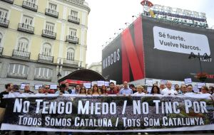 Over in Madrid, hundreds of supporters of the referendum gathered in solidarity in Puerta del Sol square