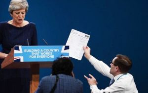 Security at future Conservative events is to be reviewed after a comedian was able to get within yards of the PM and hand her a mock P45 redundancy notice.