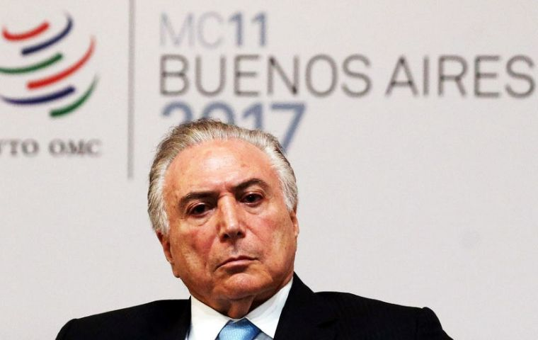 Brazil's Temer said an announcement on the Mercosur/EU framework political deal might have to wait until Dec. 21, when bloc's presidents meet in Brasilia.